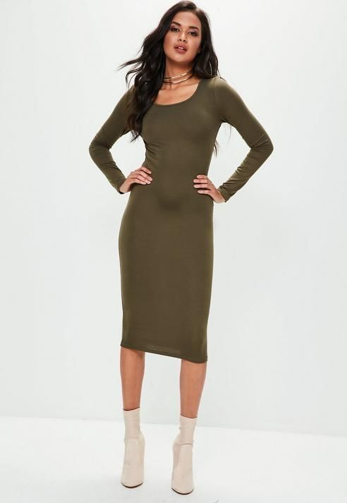 b3ecb4bf0c29 Missguided Khaki Long Sleeve Plain Midi Bodycon Dress
