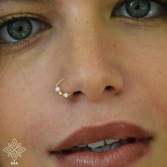 Photo of Nose ring, Extra tiny thin nose ring, SOLID GOLD opal nose ring, Nose ring hoop, 22g nose ring, Thin nose ring, Nose hoop, Piercing ring