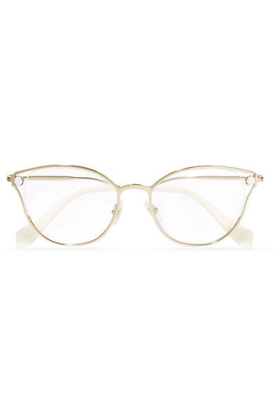 0cb6abbba3e Miu Miu - Embellished Cat-eye Gold-tone Optical Glasses