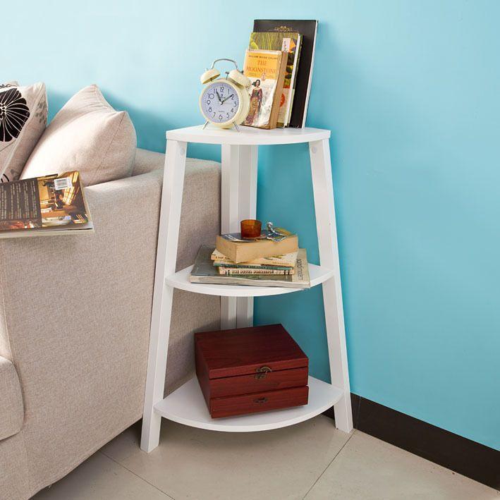 sobuy leiterregal standregal wandregal eckregal beistelltisch in wei frg19 w in m bel wohnen. Black Bedroom Furniture Sets. Home Design Ideas