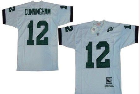 Philadelphia Eagles  12 Randall Cunningham White Throwback Jersey ... 970feb777