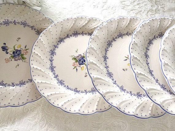 Nikko Blue Peony Salad Plates Country Cottage Chic by RobinsLane & White Porcelain China Luncheon Plates Nikko Blue Peony Salad Plates ...
