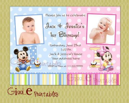 Minnie Mickey Mouse Twins Birthday Party by my3sweetcheeks on Etsy – Twin 1st Birthday Invitations