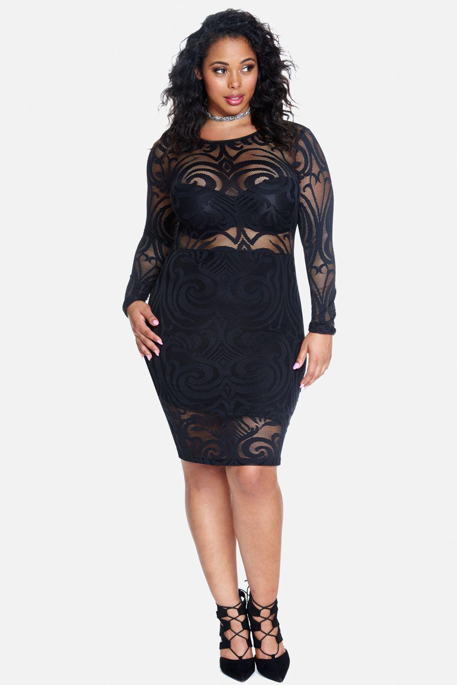 Plus Size Kaliber Scroll Lace Mesh Dress Mesh Dresses Pinterest