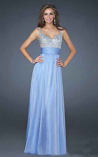 Light Blue Two Strap Floor Length Chiffon Dresses LF16802 [Chiffon ...