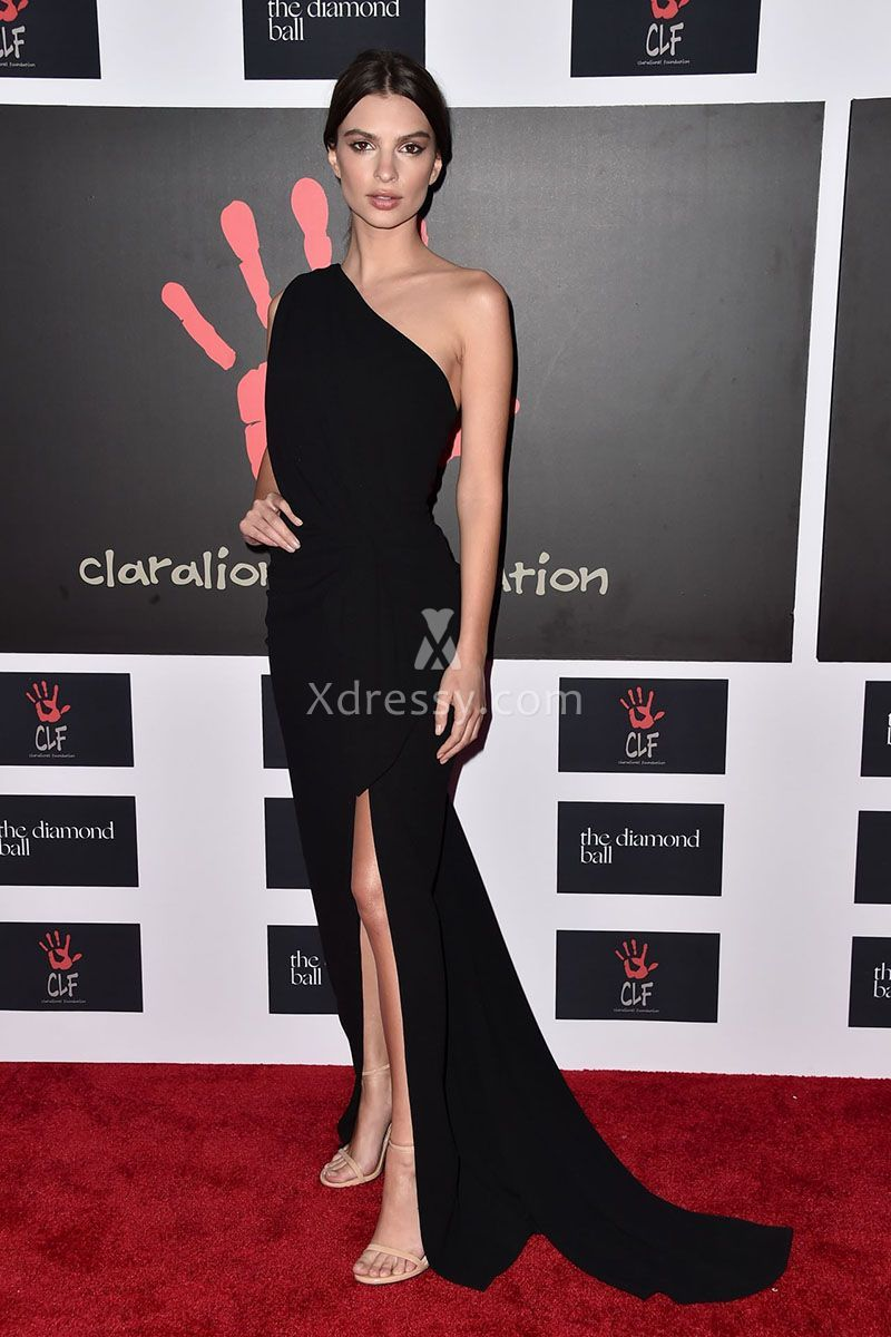 Emily Ratajkowski Glamorous One Shoulder Black Long Evening Dress