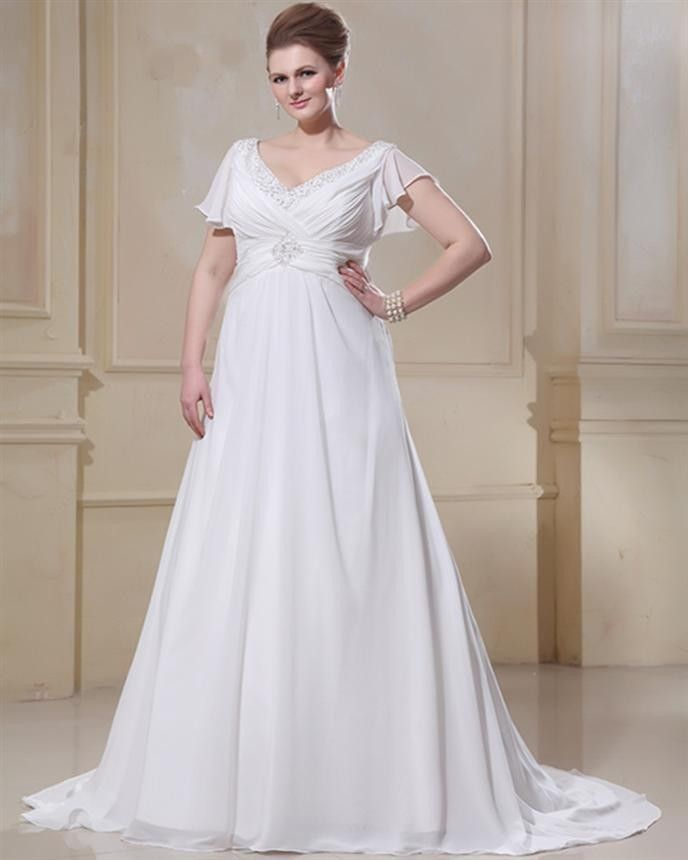 A Line V Neck Cap Sleeves Chiffon Plus Size Maternity Wedding Dresses