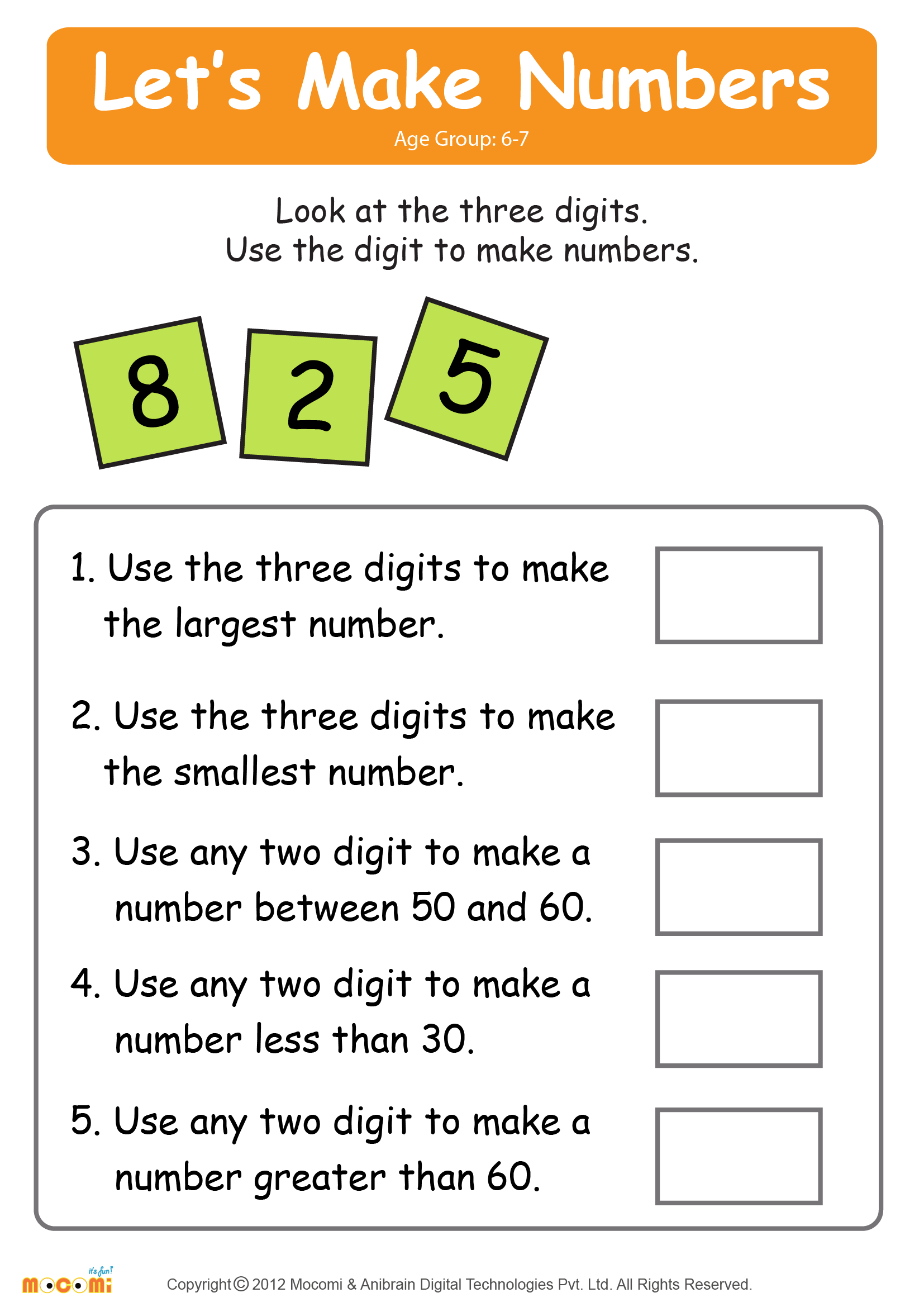 Make Numbers 02 Math Worksheet For Kids Maths For Kids