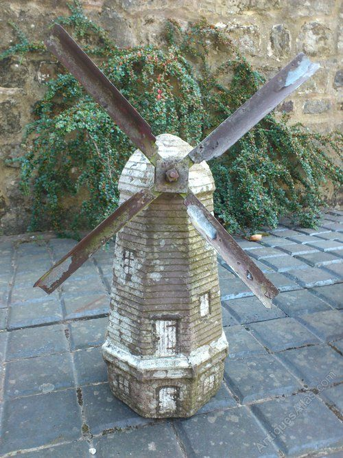 Atlas   Folk Art Garden Windmill Decorative Garden Ornamental Windmill Made  Of Reconstituted Stone And Wooden