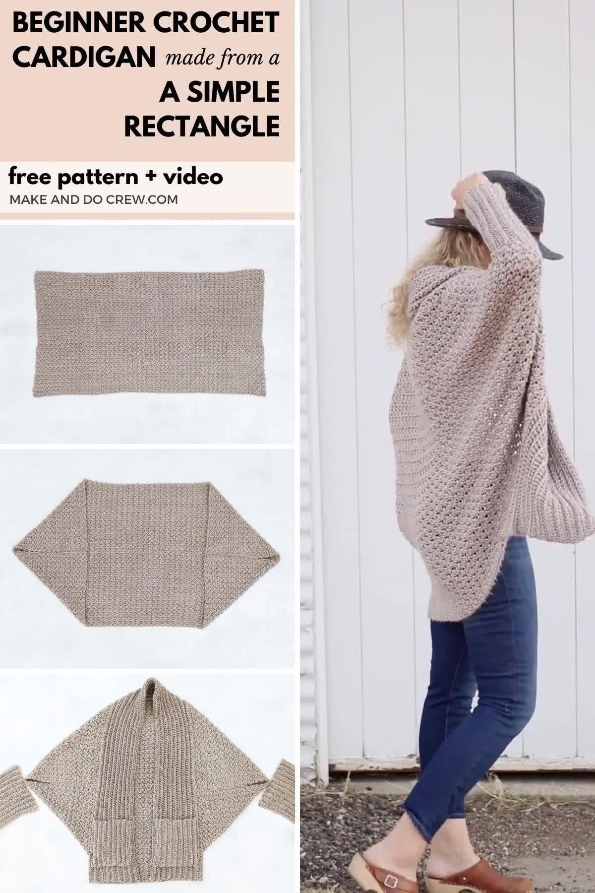 Free Beginner Crochet Sweater Pattern + Video Tutorial
