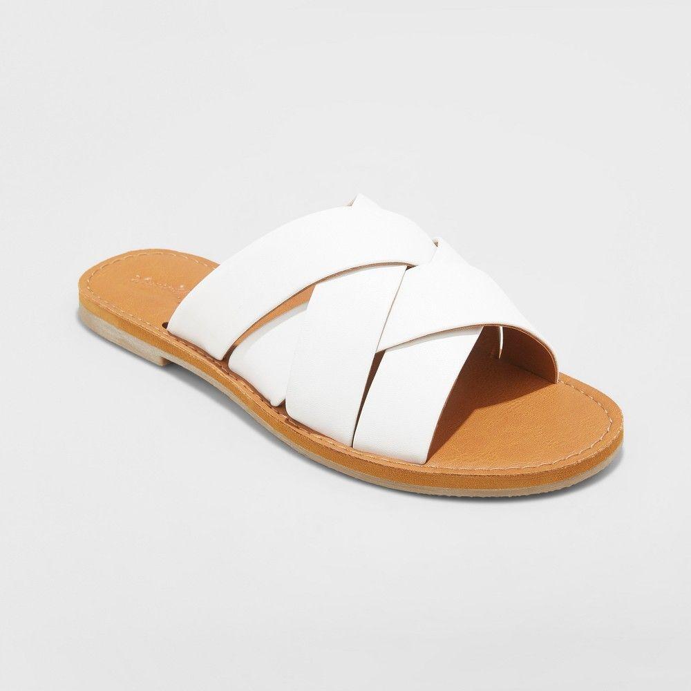 b01f81e1ca57 Women s Krissy Crossband Slide Sandals - Universal Thread White 8.5 ...