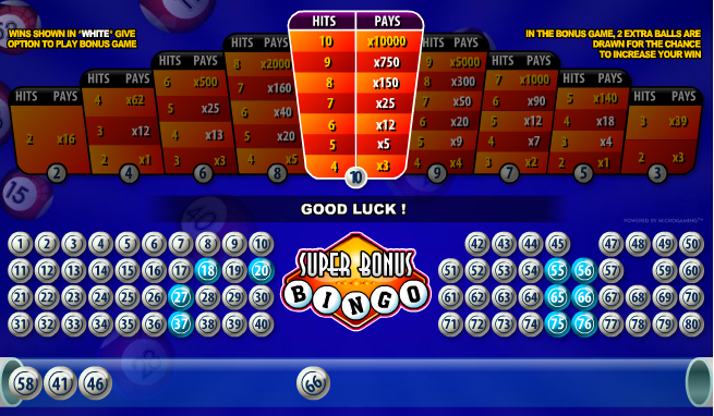 Free Super Bonus Bingo Game play for free! Bingo games