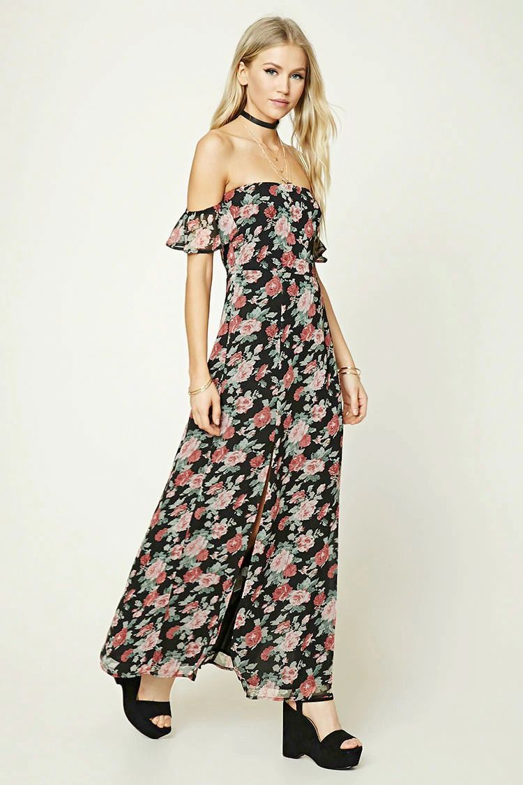 A woven maxi dress featuring a strapless silhouette with an