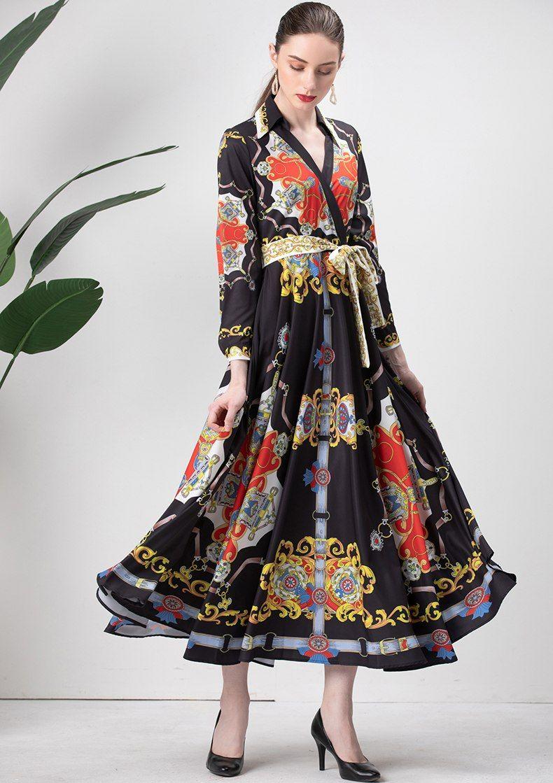 a1a18c1973 Fashion Designer Runway Dress Spring Women s Dress Long sleeve V-neck  Sashes Vintage Print Elegant
