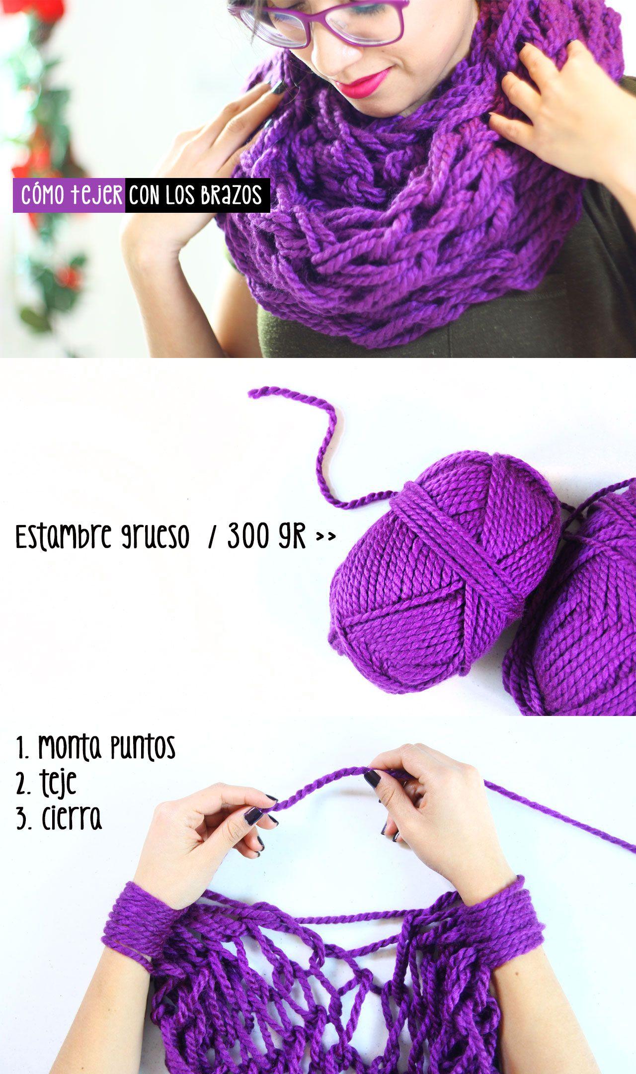 Bufanda en 30 minutos: cómo tejer con los brazos   tejer   Pinterest ...