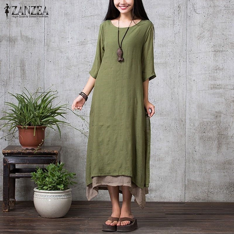 Cotton Linen Retro Dress 2017 Spring ZANZEA Women Fashion Casual Loose O Neck 3/4 Sleeve Long Maxi Dresses Vestidos Plus Size