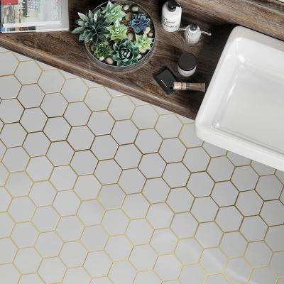 Jeff Lewis Laurel Brass White 8 625 In X 15 125 In X 9 Mm Hexagon Honed Marble And Metal Wall And Floor Mosaic Tile 96791 The Home Depot In 2020 Mosaic Flooring Gold Tile Honeycomb Tile