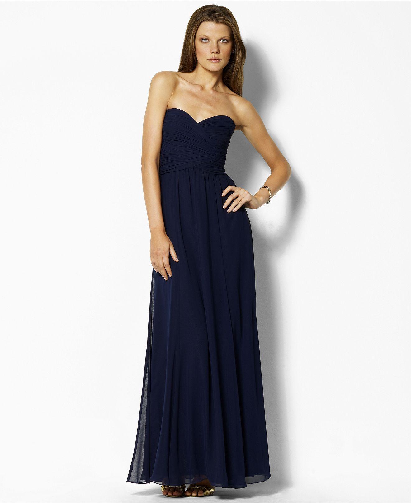 Lauren by Ralph Lauren Dress, Strapless Evening Gown - Dresses ...