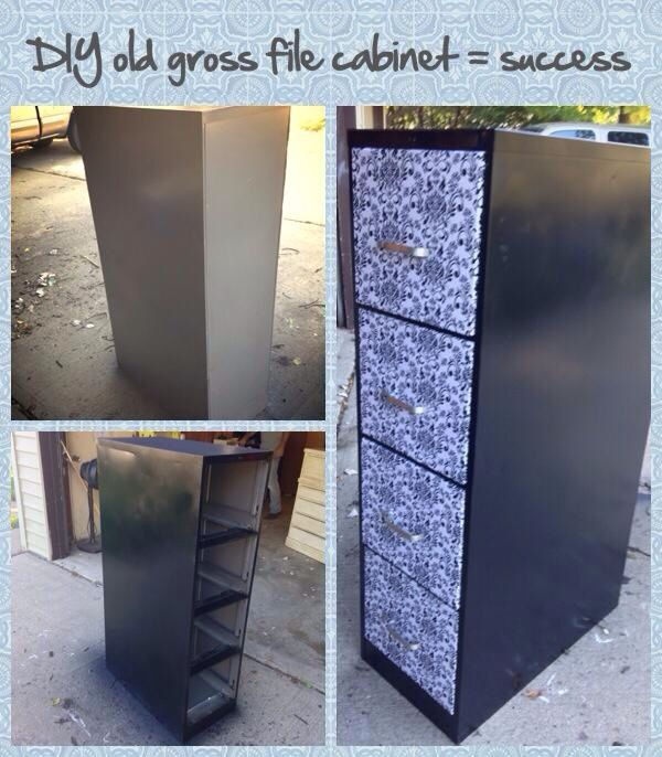 Updated File Cabinet:: Spray Paint, Fabric, Hot Glue