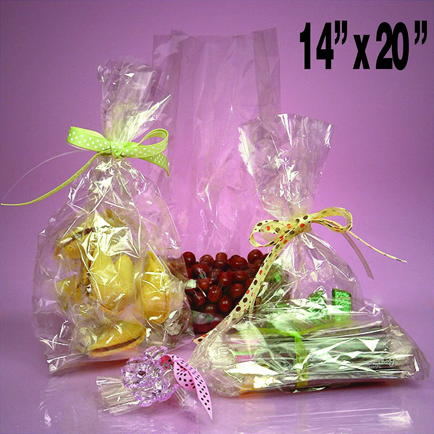 50 Clear Cello/cellophane Bags - Flat 14' X 20' - Wedding Favors Party Gift Basket Supplies -- See this great product.