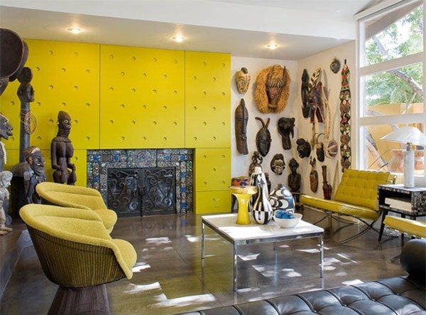 West African Decor Tiles Tema Model Ruang Tamu Rumah Modern Warna Kuning Image Bysolusiproperti