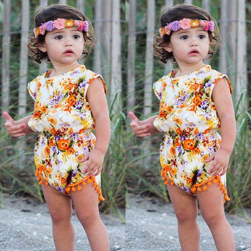 d810cc9e2ca1  1.09 - Newborn Infant Kids Baby Girl Floral Summer Romper Jumpsuit Playsuit  Clothes Set  ebay  Fashion
