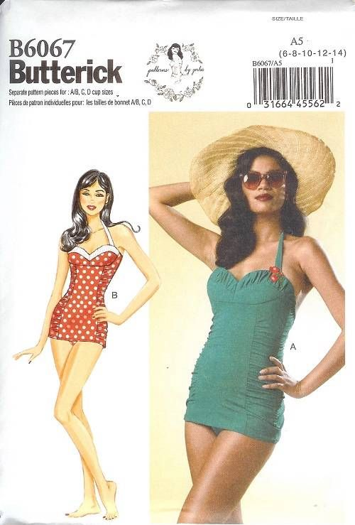 Vintage 50s Retro Butterick Sewing Pattern Misses Swimsuit Princess ...