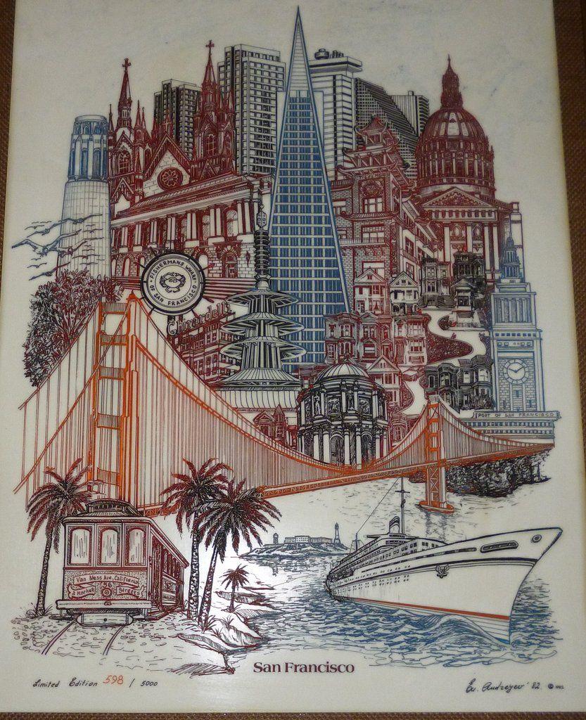 Vintage San Francisco California Eugene Andreyev Alabaster Marble Etching Picture 1982