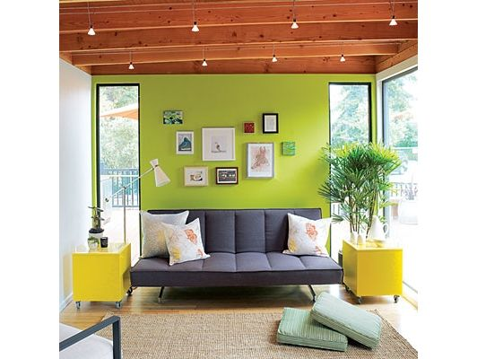 A Living Room With Bright Green Accent Wall In The Modern Cottage Idea House Home And Garden Design S