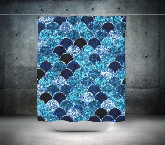 Mermaid Scales Shower Watercolor Blue Sea Diamonds Boho Chic