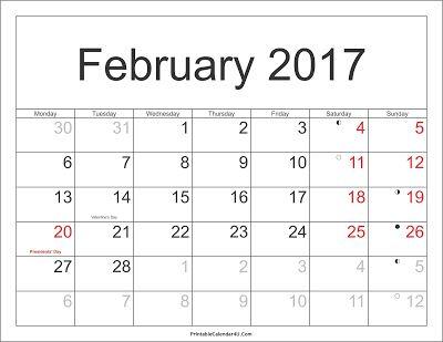 february 2017 calendar with holidays calendarprintablez