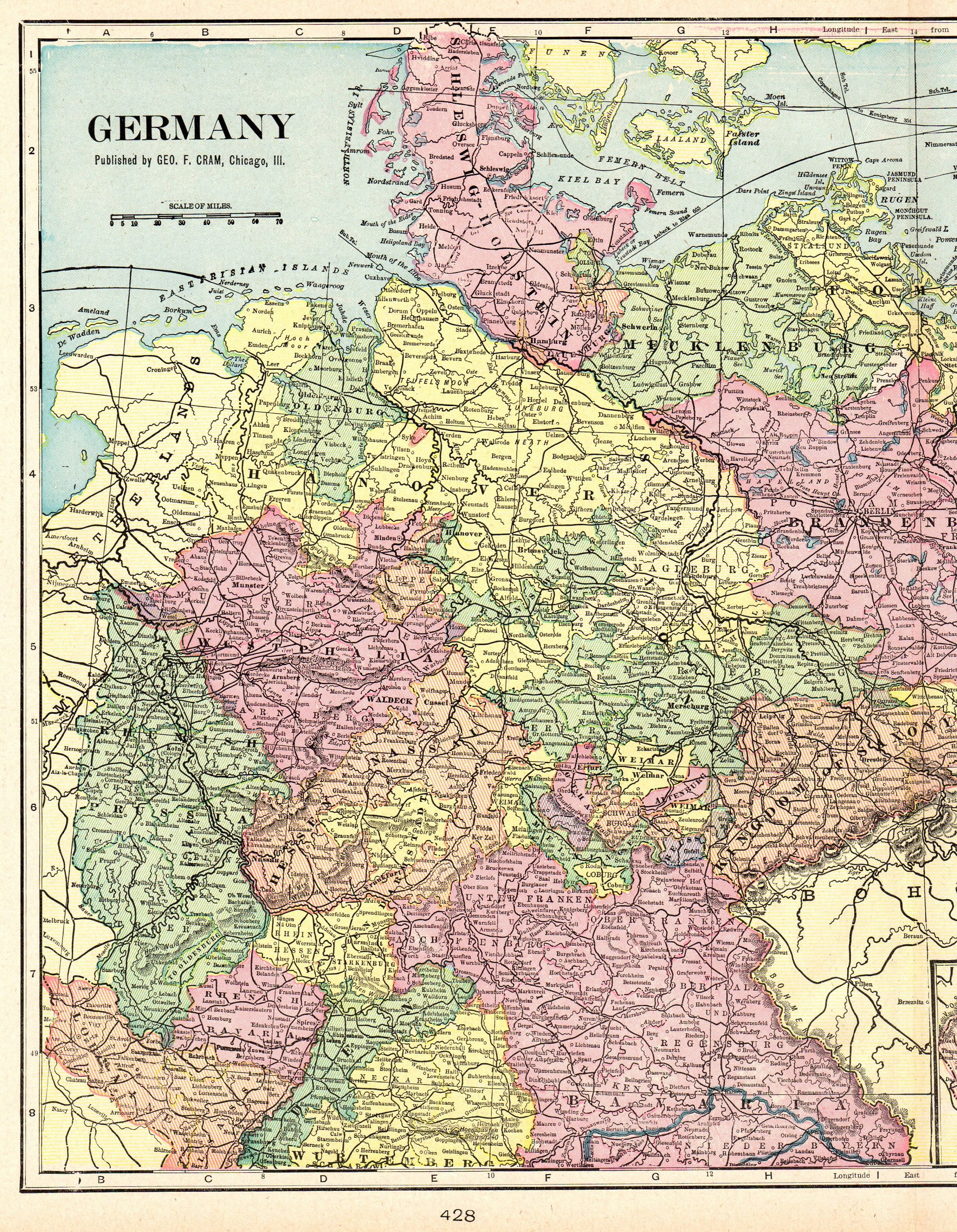 1901 Antique GERMANY Map Vintage Map of Germany Gallery Wall Art ...