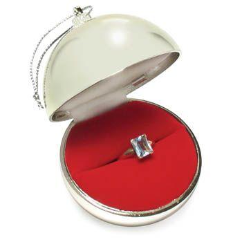 Ornament Ring Box Silver Ball Ring Box Christmas Ring Christmas Ornaments