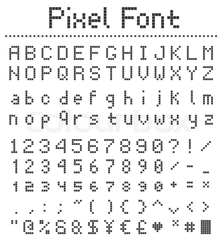 Stock Vector Of 'square Pixel Font, Videogame Alphabet In