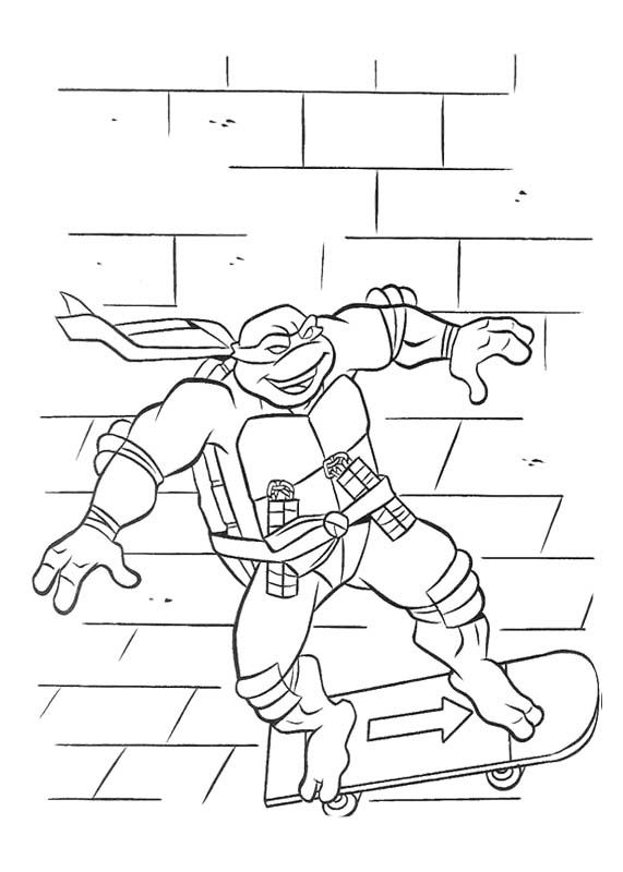 Ninja Turtle Playing Sky Board Coloring Page | Coloring Pages ...