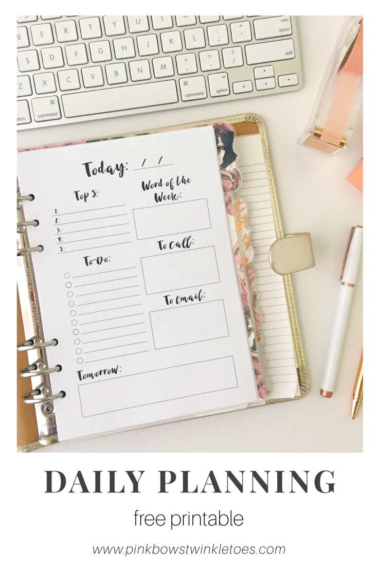 daily planning page  free printable planner insert