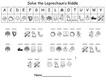 st patricks day coloring pages high school | St. Patrick's Day decode the riddle | Holidays & Seasons ...