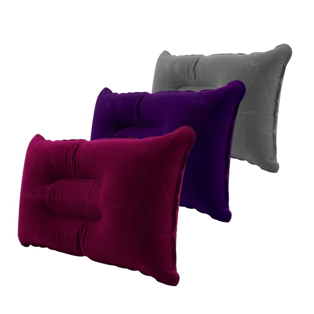 5f7613a7606 3 Colors Outdoor Portable Folding Air Inflatable Pillow Double Sided  Flocking Cushion for Travel Plane Hotel