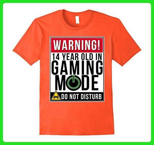 Mens 14th Birthday Shirt For 14 Year Old Gamers Tee Teens Large Orange