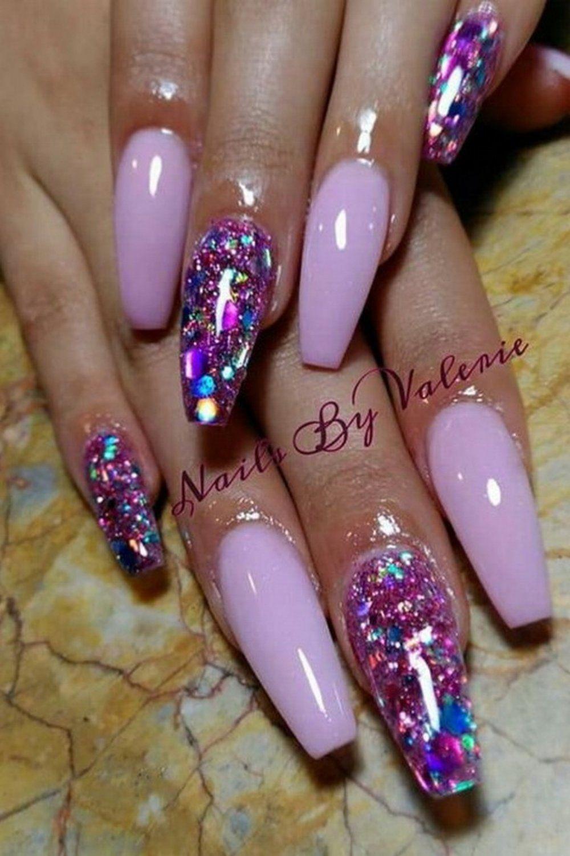 Purple Acrylic Nails Coffin Glitter Nail Designs