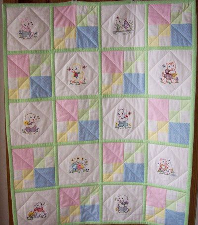 Vintage baby animals are done with machine embroidery on this baby ... : baby quilts to embroider - Adamdwight.com