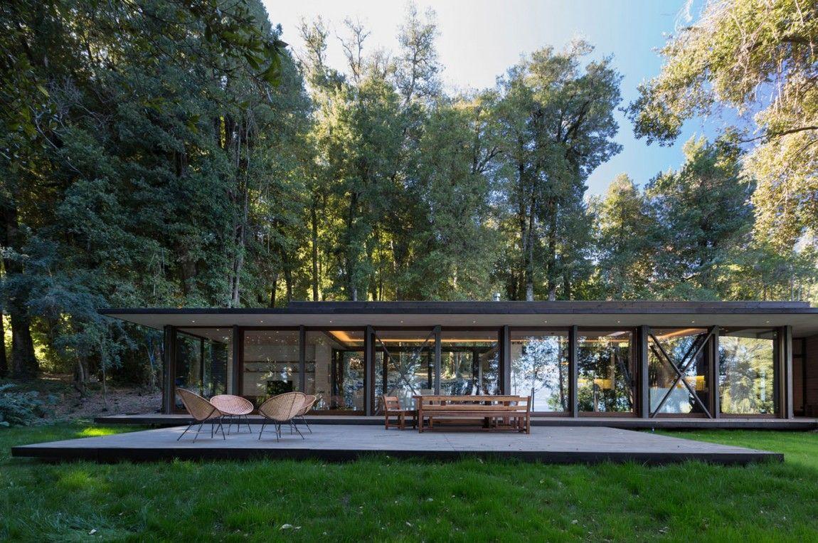 Diseño casa en lago villarrica con planos