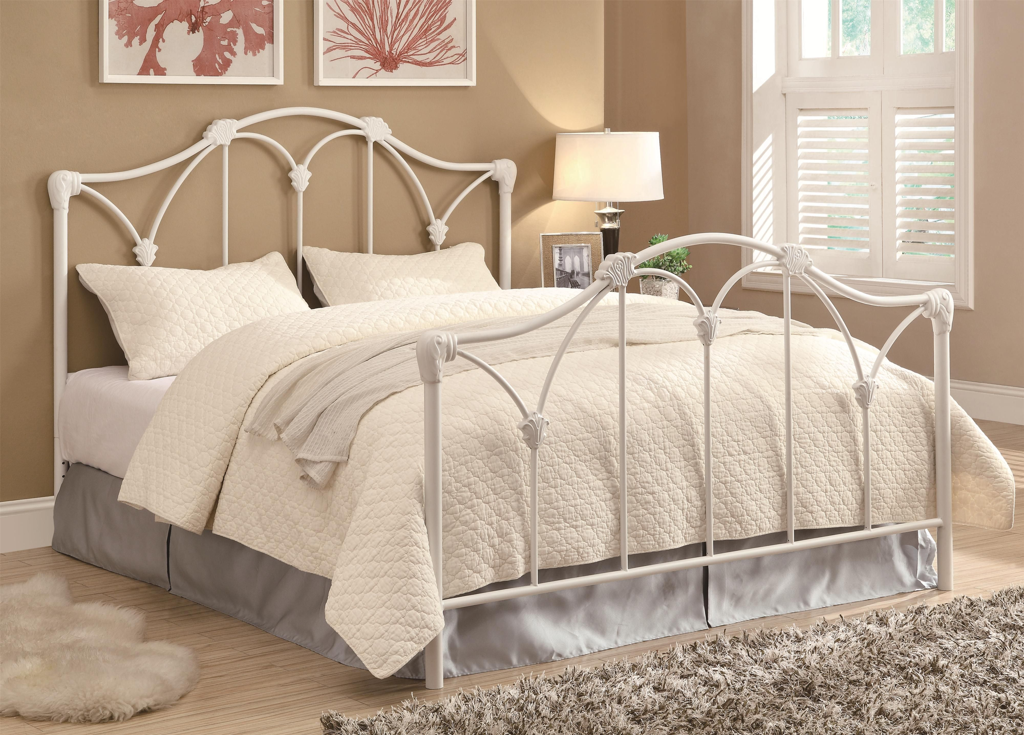 Iron Beds and Headboards Queen Bed by Coaster White iron