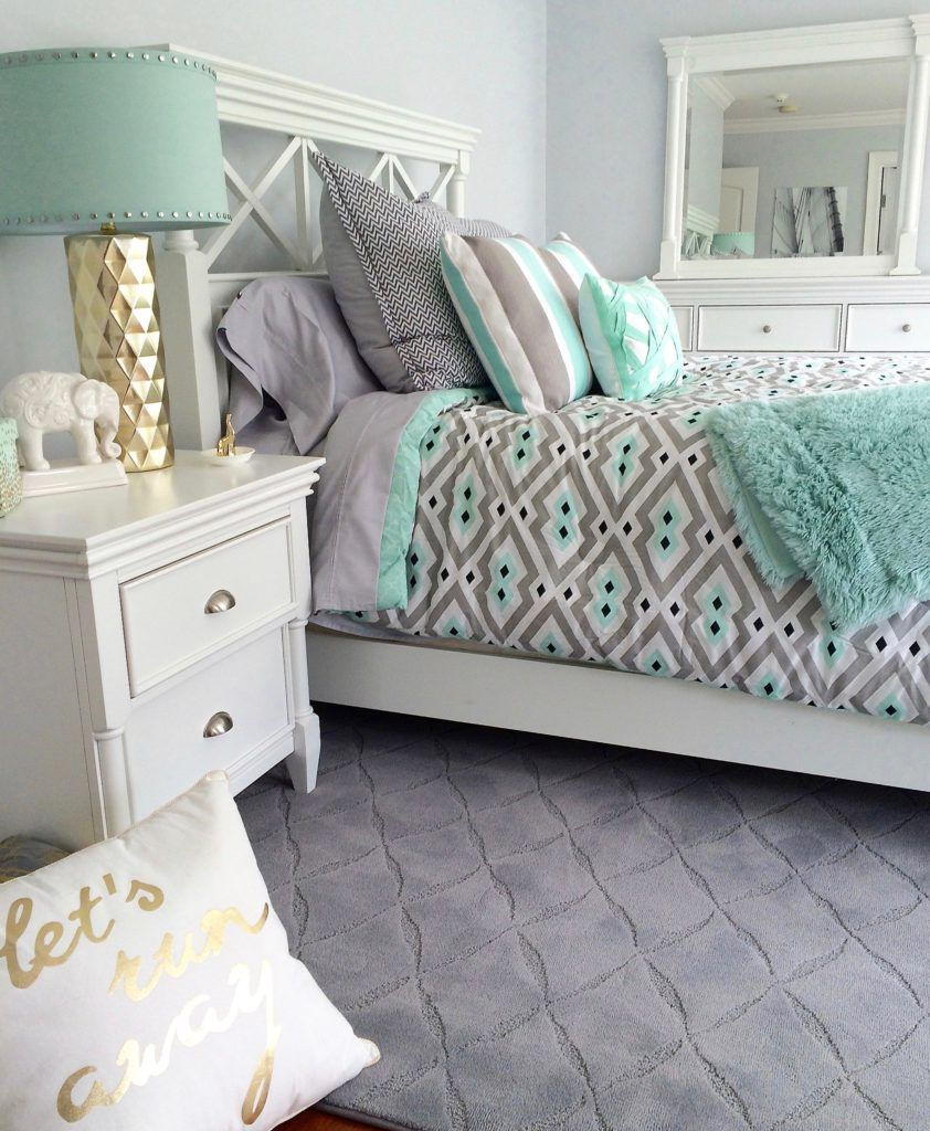 Mint Green Bedroom who doesnt love mint green and gray together? create a bright and