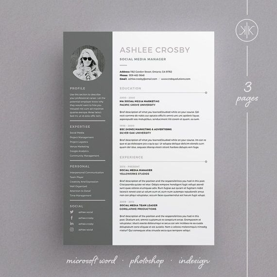 Ashlee Resume\/CV Template Word Photoshop InDesign - adobe indesign resume template