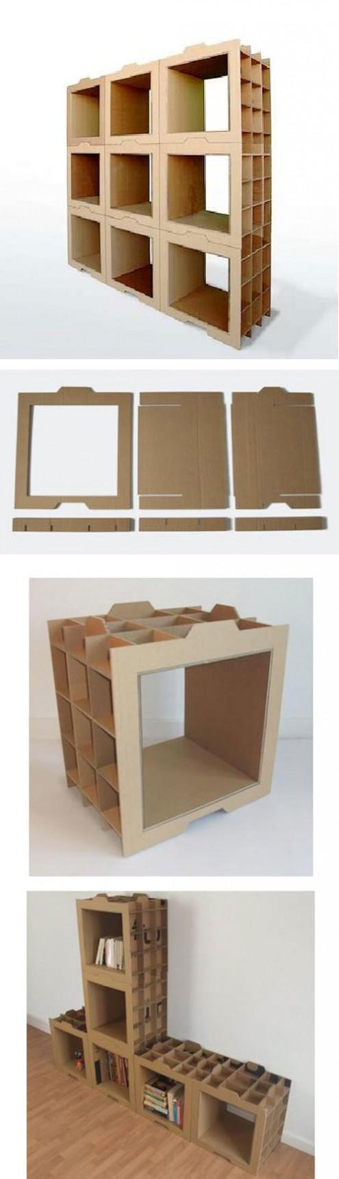 Estanterías con piezas de cartón | Cardboard furniture, Craft and ...