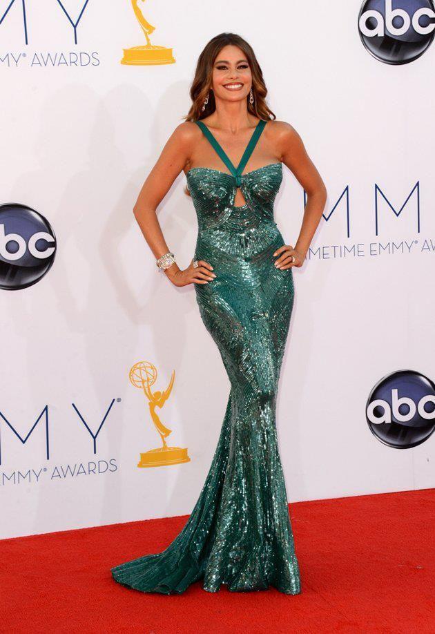 Sofía Vergara con un vestido verde impresionante.