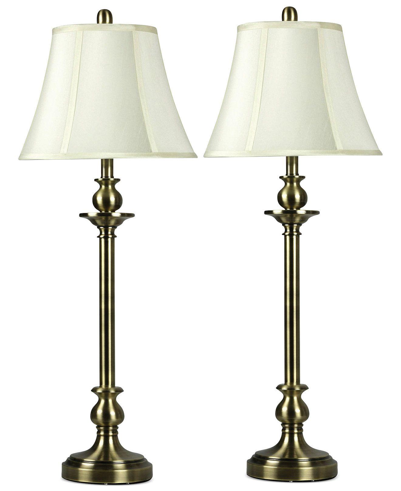 Stylecraft set of 2 antique brass buffet lamps lighting s