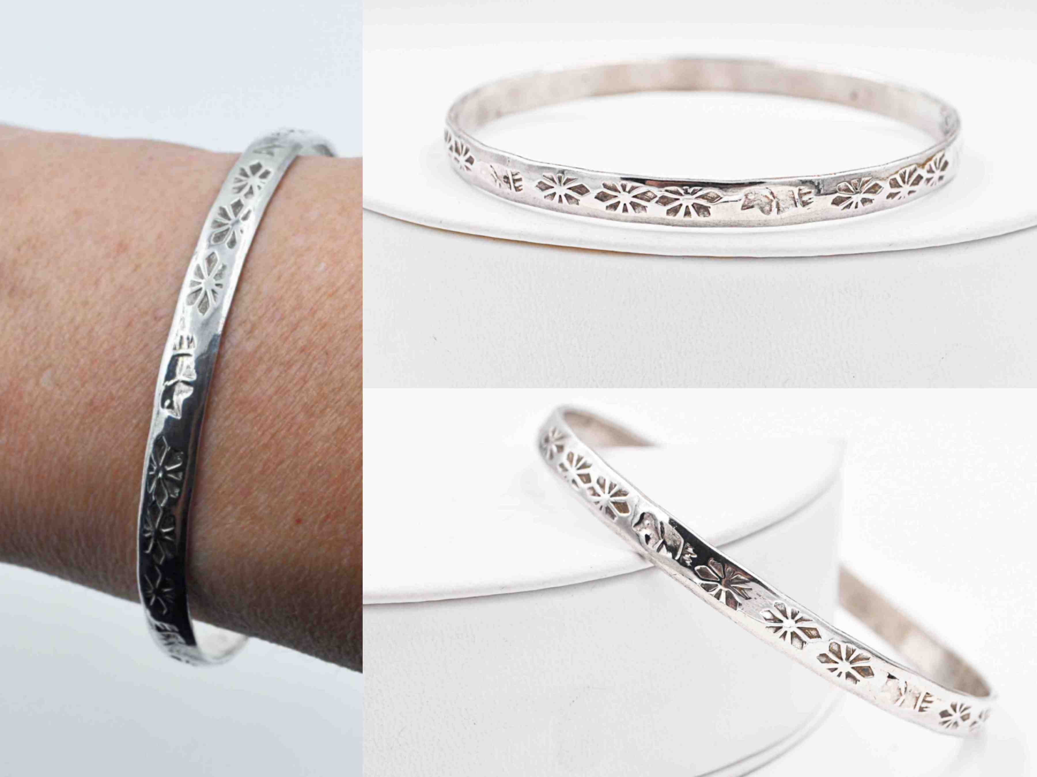 1050fcbf2cd Vintage Taxco Sterling Silver Bangle Bracelet, Mexico, Floral, Flower,  Bird, Stamped, Tribal, Stackable, Stacking, Lovely! #c003
