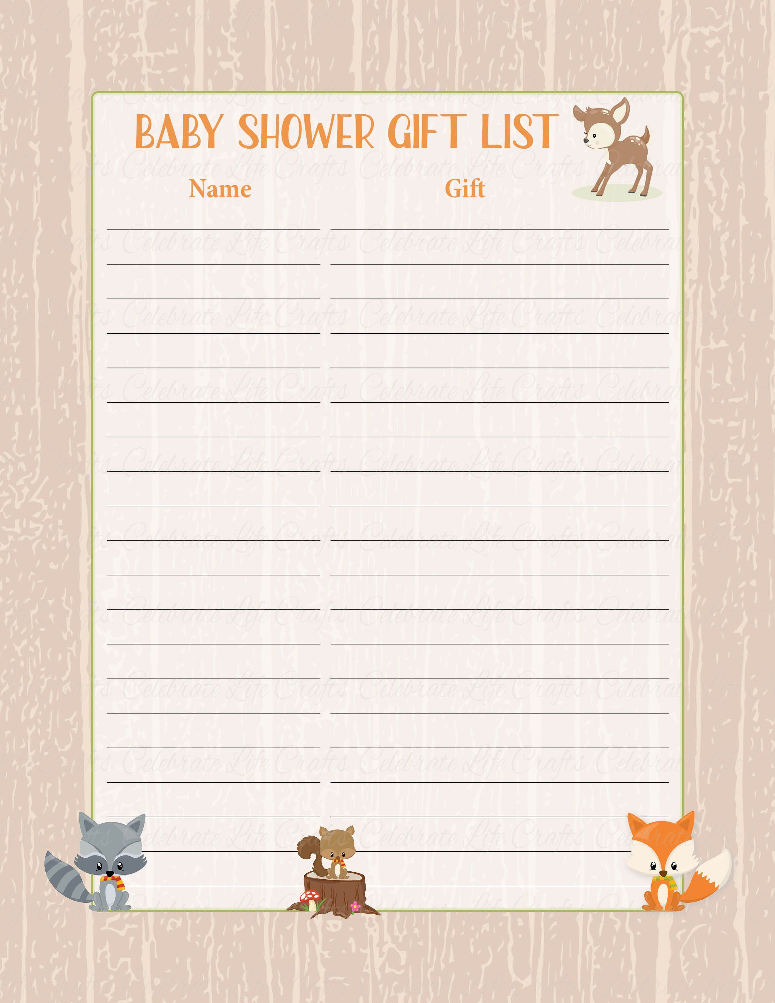 Baby Shower Gift List Sign Printable Forest Animals Woodland Baby Shower Decorations B18002 Baby Shower Gift List Woodland Baby Shower Decorations Baby Shower Woodland Theme